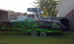 "this boat has so miny extras ,fat sacs, wet sounds ,subs, amps, monster tower, custom wrap, custom inter ,leds .custom trailer whit 22""s and miny other extras.. serious inquiries only (256) 466-1092"