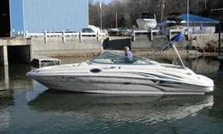 2003 Sea Ray 270 SUNDECK 2003 Sea Ray 270 Sundeck powered by a 6.2 MPi 320 Hp Mercruiser Bravo III dual prop I/O, stainless steel props, only 216 hours, white and taupe with white interior, wrap around walk-thru windshield, large open bow seating with