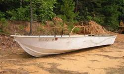 """14 foot. Mon-Arc, 1960's..42"""" wide bottom 54"""" at the top Heavy gauge Aluminum boat, two seats,Semi-V Hull,The side rails have been taken off, they were bent and had rust on them. Good shape.... Grandmaw's & Grandpaw's old boat $375.00....OBO Call"""