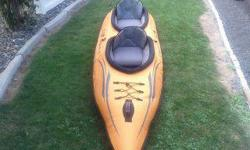 Price reduced ! I won't go any lower , this is a nice kayak in perfect condition , I have 4 kayaks and don't need that many but I'll keep this 1 before I give it away ! Advanced Elements Lagoon two inflatable tandem kayak. High performance cruising kayak