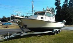 ? 6 cylinder turbo Volvo Diesel (41b)? Volvo Dual prop outdrive w/new stainless steel props? 980 hrs. total time on motor, outdrive, boat? 20 hp Honda 4 stroke kicker with new mount ( 10 hrs of use )? 3 - 12 volt battery system with 120v charger? Power
