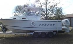 TROPHY FISHING BOAT 2802 A MODEL 30 FT 2- 2004 JOHNSON 225 MOTORS (APPRAISED @ $18,000) $10,000 WORTH OF ELECTRONICS SHIP TO SHORE RADIO, 2 GPS, RADAR, DEPTH FINDER, AUTO PILOT AND MUCH MORE $5,000 TRIPLE AXLE TRAILER INCLUDED FULL KITCHEN, 2 SLEEPING