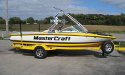 Beautiful 2007 Mastercraft ProStar 197 with MasterCraft?s premium foldable tower with ski and board rack setup, this nicely equipped 197 with a USA WaterSki Approved power-train (350hp MCX w/Powerslot Transmission) will take care of everyone in the group.