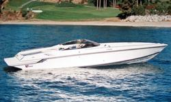 Spectacular 1990 Twin 454, Bravo 1 out drives with 23 stainless Mirage props , K-Planes, Halon system, battery charger, shore power, compass, CD, Sirius Satellite Radio, bolster seats, vacuflush head, refrigerator and microwave oven. The boat is