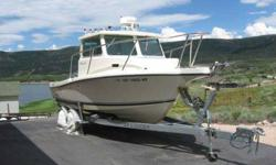 2008 Defiance 220NT 22 pilot house offshore fishing boat. 150hp Yamaha F150 main engine with only 67 hours. 8hp Yamaha High Thrust aux motor with Panther power lift. 100 gallon fuel tank for enormous range. Garmin 3210 10 GPS Chart Plotter with 24 mi