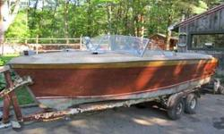 1953 18' Bull Nose Chris Craft Holiday w/tandem axel trailer. Very solid and complete boat. Ready for restoration need s minor transom work. bottom, stern and hull are in good shape. The original 6 cyl. motor and trans are in need of rebuild or I have a