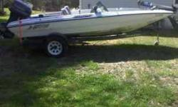 90 hp Evinrude, 17', trailer & troll motor incl, live well, extra storage, front and rear seats, 3 batteries & an onboard charger, power trim, Hummingbird fish & bottom finder, lights, 50 mph on glass, local? Will take you for a ride. Will trade for