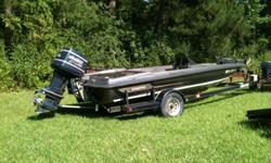 1990 17 1/2 ft Stratos Bass Boat 150 Evinrude V6 motordepth finder, trolling motor and all the extras.