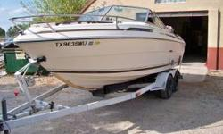 1984 Sea Ray 21. Stored in barn, when not in use. Excellent condition. 302 V8. OMC outdrive. Tandem trailer. Bimini top, also complete wrap around top. Color Humminbird fish finder. VHF radio. Stereo. GPS. Port a pottie. Sleeping area for four in the