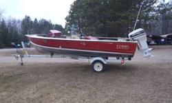 Very nice older lund, has solid floor. has live well, bilge pump, depthfinder, side console with sliding windshield for storage. very clean rig. Motor is a 1993 model with tilt and trim. every thing works. also comes with cover, tank and hose.