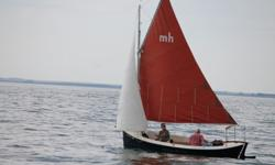 1992 Sovereign America Mudhen 17 foot sailboat. Rigged as a sloop with traditional gaff-rigged mainsail. Centerboard design doubled-ended sailboat with beautiful teak wood cockpit seats, full complement of cushions that make into a comfortable bed forward
