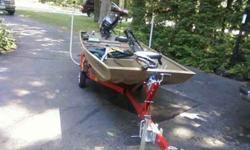 "14ft G3 Jon Boat Model # 1436 Length 13' 11"" 2005 Mercury 15 HP Four Stroke Motor Minn Kota Trolling Motor Depth Finder READY TO FISH"