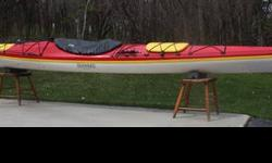 """2006 Seaward Quest High Volume, Semi """"V"""" hull, high performance touring and expedition kayak. Long water line length 19' and narrow beam 22.5"""". Hull is fiberglass layup with Kevlar reinforcement along center line in bow and stern. Extra features"""
