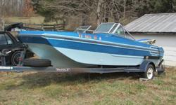 17 ft 1989 Arrowglass tri-hull boat.. set up for sking or fishing.. Has a 150 hp johnson motor.. foot controlled trolling motor, fish finder. Almost new seat and carpet... floor good..have a nice 6hp johnson kicker motor that can be purchased..
