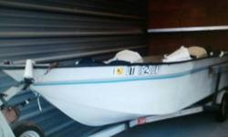 Great quality fishing boat in great shape. 16 ft tri hull 18 ft with trailer New Briggs and Stratton 5 hp motor with less than 10 hours. Has setup that could be used as a down rigger - currently being used for the anchor. It has been stored in an enclosed