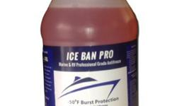 Ice Ban Pro - 50 Nontoxic Antifreeze An all purpose Propylene Glycol anti-freeze well suited for all winterizing needs. Use in boats, RV's, homes, cottages and toilets. Helps lubricate pumps and seals. Tasteless and odorless. Protects from bursting to -50