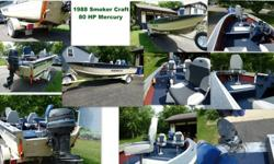 16 ft 1988 Smoker Craft - 80 HP, Trailer, Motor and new cover. New Seats, rewired trailer and boat , live well, Ready to go. $3500Magnum 161 507-246-6633 Leave a message.