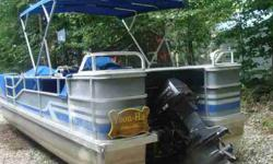 24 foot 8 passenger with 88HP Johnson outboard motor. Stored in garage over winter, always winterized and spring tune-ups. Blue awning, 2 tables, boat gas grill, seat and table covers for storage. Will include life jackets, ready to go for Labor Day