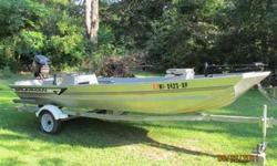 """1996 Aluminum """"Grumman"""" Bass Boat $3500.00, 60 HORSEPOWER Mariner, just been serviced, OMC trolling engine, trailer. Call or or (click to respond)Listing originally posted at http"""