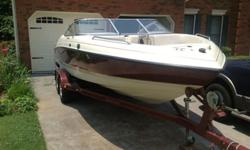 Boat is in great condition. Stored under shelter with cover. Seats and seat cushions newly upholstered. Dual swivel adjustable captains chairs. Tandem axle trailer with new tires. Depth gauge. Bilge pump. Walk through windshield. Ski locker. Navigation