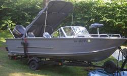 18 Foot Sea Nymph Bowrider, Fish and ski 90 HPV4. It is a Johnson make year 2002, very low hours. Motor has power lift. Other items offered; 3 fishing rods, 3 pocket fisherman rods, side pumpers, lines, life jackets, anchors, 2 paddles, and many other