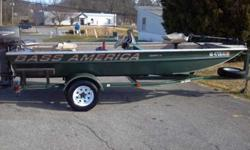 I have a really nice garage kept 16 feet Bass America river boat. It has a 25HP Johnson motor. Runs well. Also has a 43 pound thrust trolling engine. Has new starter battery and new trolling battery. Fish finder, rod holders and live well. Carpet and