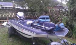 15 ft Gator Solutions bass boat and trailer , Its a 1988, Its in good condition, runs great, it has a 90 hp Evinrude outboard motor , two live wells, Three storage compartment, trolling motor with foot control, it also has a humminbird fish finder,and 3