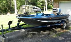 1986 Challenger 15ft bass boat. Well maintained. 55hp Suzuki motor, trolling motor, depth/fish finder. Upholstery in great shape. Includes trailer. $3500.00 OBO. Would consider trade for Small pontoon boat 14-16ft. The Challenger was Tuned and maintained
