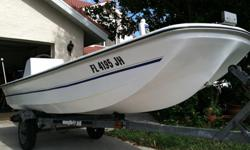 14'2 skiff great little boat! i want something bigger so need to sell this. the hull is replica boston whaler year is 94. has a 35 hp 2 stroke mercury. Great skiff for fishing around backwaters or just going for a cruise.