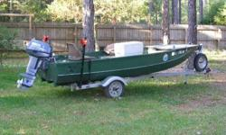 "One 14 Ft. Challenger Triple V-Bottom Glass Boat,Re-built Skipper B Trailer with Brand New 2008,25hp. 2-cycle hp O.B. Motor,10 Hrs with many Extras, "" Great for fishing Marsh areas or Duck Hunting"""