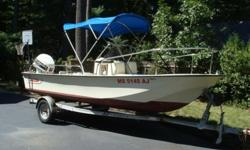 1988 Boston Whaler Montauk 17? 90 hp Johnson 2cycle outboard (oil inject optional).Galvanized EZ Loader bunk Trailer, new LED lights.WM J Mills bimini cover (blue).WM J Mills mooring cover (blue).Humminbird depth / fish finder.Compass.New battery in 2011