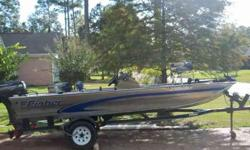 17ft Fisher Dominator bass boat. 40HP Force by Mercury Engine. Hummingbird 100sx fish/depth finder. Live well. Under seat and two under deck storage compartments. Foot controlled Motor Guide 43lb Thrust trolling engine. Trailer. Garage kept until 2011.