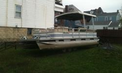 we have a GREAT running 24ft pontoon boat with Telescoping roof that retracts for easier towing and storage, it has a newer deck, fog lights with a powerful 40HP Johnson Motor... comes with trailer all ready for the fishing season and in perfect item for