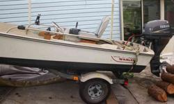 Very Nice Boston Whaler with very stable catamaran type haul made in Rockland Mass. I believe it was made in the 80's and it is in terrific shape with newer King trailer, spare, Like New 2005 Yamaha 25hp four stroke motor with very low hours, new gas tank