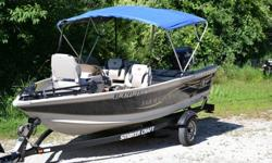 Ready to launch! Like new! Very little use!25HP Evinrude outboard motor with oil injection -Low hours, Runs greatProp is in good condition, only a few dingsPower tilt and trim2 Humminbird fish/depth findersMinn Kota all terrain troling motorLive well