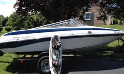This Boat has never been in salt water and is garage kept every winter.6 Cylinder 4.3 litre Mercruiser with 190 hours on the clockIn great condition with the exception of a few dock scuffs and small seam separations. Comes with Trailer, Sun Canopy, Cover,