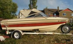 this boat is in very good condition 140hp Mercruiser engine w/trolling plate, Eagle fish and depth finder, 7.5hp mercury trolling motor, and waterproof travel/ storage cover,and Trailer