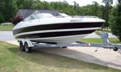 This is a very nice bowrider. it rides smooth in rough water since it is almost 22.5 long and it will cruise no problem at 35mph and run wide open at 50mph. this boat has 182 hours on it and it has a brand new dealer instaled engine with about 70 days