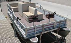 Fishing Style Pontoon, Johnson 48 Outboard, 2 Front Swiveling Fishing Seats, Rod Holders, Removable Swim Ladder, Boarding Gates (Bow, Port & Starboard), Cup Holders, Swiveling Captain?s Chair w/ Arm Rests, Under-Seat Storage and Single Axle Trailer.