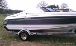 THIS 88 REGAL WAS A GREAT PURCHASE FOR OUR FAMILY. WAS ON IT ALOT OVER THE SUMMER AND I HAVE TO SAY NO PROBLEMS. BOAT HAS A 4.3 MERCRUISER V6. BOAT COME WITH TWO TOPS, ONE THAT IS LIKE A CONVERTABLE TOP, ITS ACUALLY THREE TOPS IN ONE WITH ZIP ON SIDES.