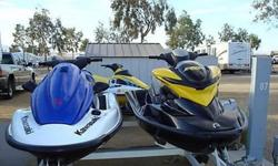 Less than 20 hours of play time. Excellent condition. Kept garaged. 110hp 782 ccs. Included are upgraded cart seats for both . These skis have only been on a lake (no ocean time). One owner. Price includes: 2 extra fuel tanks for remote fueling, 2
