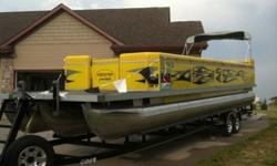 2007 Evolution Tri-Toon, 34', 275HP Mercury Outboard. Sony Sound with 3 amps, 2 subs, 10 speakers. 22 person. Everything goes with, life jackets, bumpers. dock lines, anchor, coolers. Less than 20 hours. Custom trailer with LED lights, 4 wheel disc,