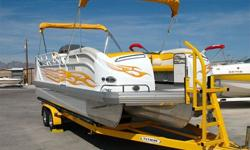 JC?s Famous TriToon Triple Tube Hull, 300 HP Mercruiser 350 Mag MPI I/O, IMCO Sound Advantage (Like Silent Choice) Through Hull Exhaust, Alpha One Drive, SS Prop, Large Extended Swim Platform w/ Ladder, Dual Batteries w/ Switch, Double Bimini Tops, In