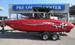 09 23' OPENBOW, MERCRUISER 5.7 LITER 300 MAG,SOLID RED WITH RACING FLAG DECAL,BRAVO THREE DUAL PROP DRIVE,CAPTIANS CALL EXHAUST,TINTED LOW PROFILE WINDSHIELD,DOCKING LIGHTS,BIMINI TOP,DEPTH FINDER,HUGE STEREO WITH MANY AMPS AND A DOZEN SPEAKERS,SOUNDS