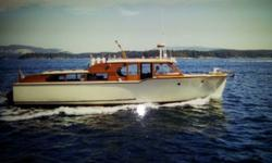 This beautiful classic Monk 42' Yacht shows very nice. Powered by a 1985 Ford Lehman Diesel engine with low hours, she cruises at 7 knots at 1400 rpm. The master stateroom is forward. Aft is a super sitting area with head and shower. The Bow stem and