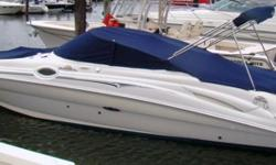 This 2006 Sea Ray 270 Sundeck, located in Bridgeport,CT, is powered by a 320 hp Mercruiser 6.2L with Bravo III outdrive. Very clean, well-maintained one-owner boat, always covered with bow and cockpit canvas at dock. Only 225 hours, new manifolds & risers