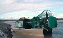 733-4995 Can be seen at AK Airboats in Wasilla Custom made airboat !!!20 long 8.5 feet wide on top 7 feet bottom, All welded no rivets diamond plate floor and deck ,has a 8.1 Leviator with about 46 hrs on the engine, Engine alone is $16,500 Easy entry to