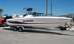 Incredibly Clean! High Performance Center Console, Twin 225 HP Mercury Optimax Blue Water Series Outboards, SS Props, Trim Tabs, Alum Tower (w/ Bimini Top, Rod Holders & Electronics Rack), Extended Swim Steps, Nice AM FM CD Stereo System w/ Separate Amp,
