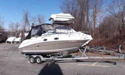 $44,995, MERCRUISER BRAVO III 260HP DUO PROPELLER OUTDRIVE ENGINE, 2006 KARAVAN DUAL-AXLE GALVANIZED ROLLER TRAILER W/BRAKES ON BOTH AXLES, BIMINI TOP W/BOOT, FULL CAMPER CANVAS PACKAGE, RATED FOR ten PEOPLE, HELM AND CONVERSATION SEATING, PORT SIDE SWING