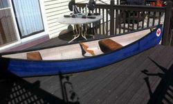 12ft Great Canadian Sportsmen 2 Seat Canoe + Roleez Cart + Paddles - $450 (Andover) 12ft Great Canadian Sportsmen 2 Seat Canoe Blue Composite Material/sparkles + 2 Wood Paddles Old Town Canada + Roleez Canoe Cart $450 hardly Used Great Shape